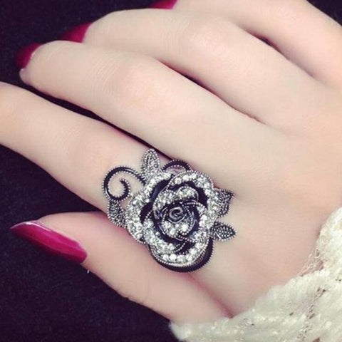 Gothic Black Rose Ring