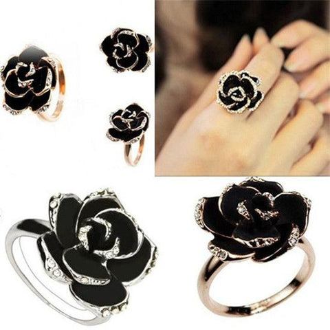 Black Adjustable Rose Ring with Rhinestones