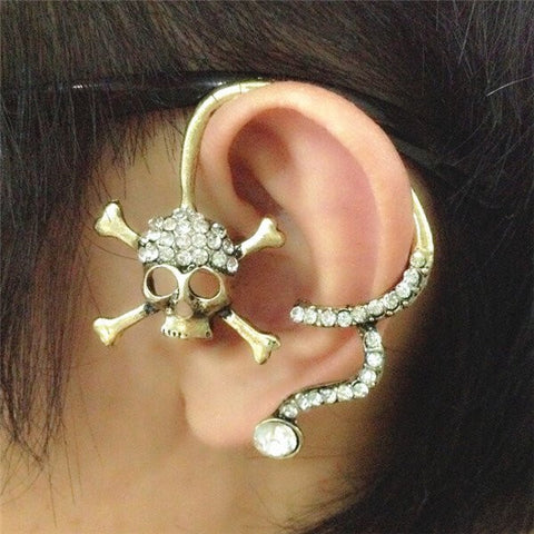 Skull Back Ear Cuff Stud Earrings Silver