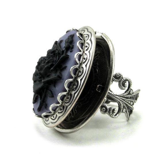 Gothic Adjustable Rose Ring