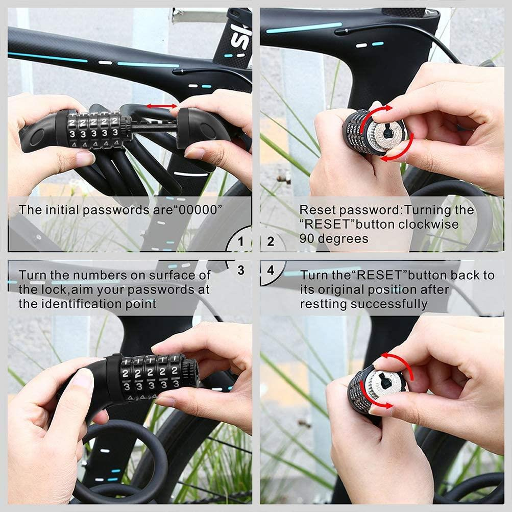 Combination Cable Security Lock Accessory for Electric Scooter or Bicycle (BLACK)