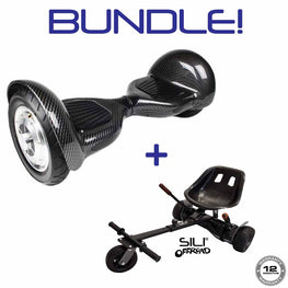 BLUEFIN™ 10″ COBRA HOVERBOARD SWEGWAY IN CARBON + SILI  OFFROAD SUSPENSION HOVERKART BUNDLE
