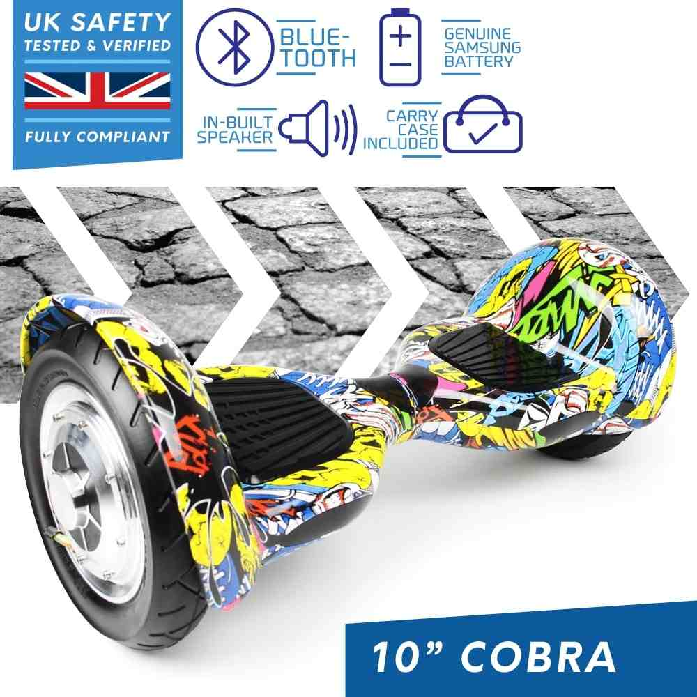 BLUEFIN™ 10″ COBRA HOVERBOARD SWEGWAY IN GRAFFITI + SILI  OFFROAD SUSPENSION HOVERKART BUNDLE