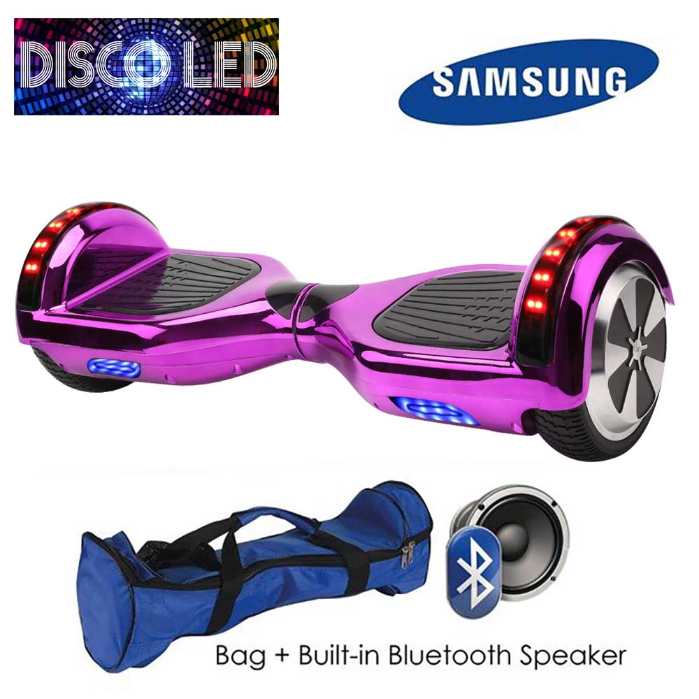 DISCO LED 6.5″ CLASSIC HOVERBOARD SWEGWAY IN PINK CHROME