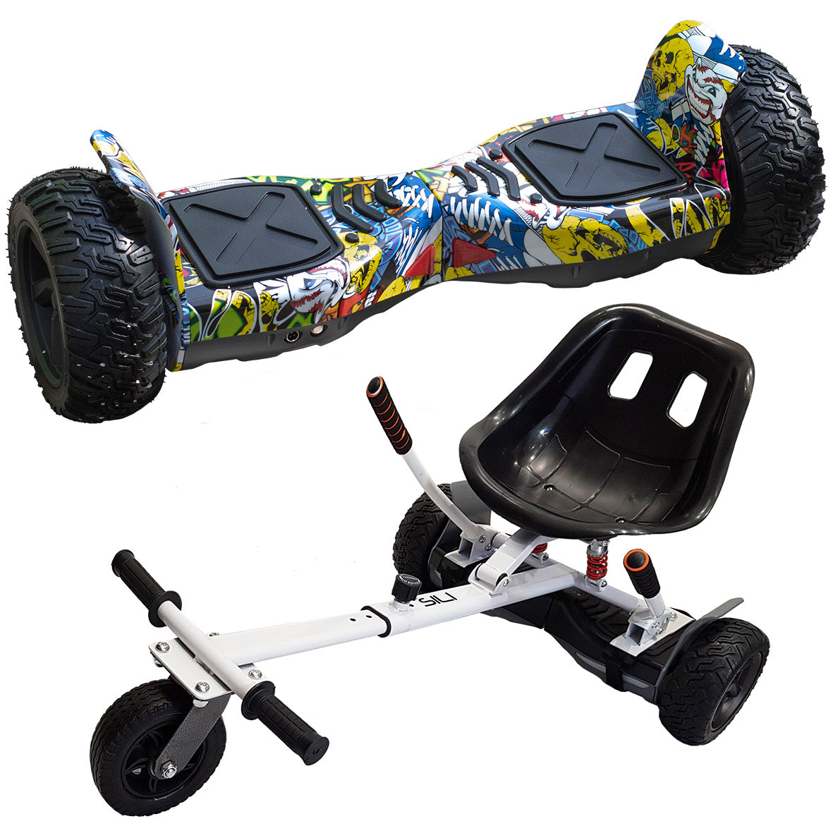 ALL TERRAIN BLUETOOTH 8.5″ HOVERBOARD SWEGWAY IN COMIC & SUSPENSION HOVERKART BUNDLE