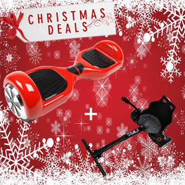 "6.5"" CLASSIC HOVERBOARD SWEGWAY IN RED + BLUETOOTH + HOVERKART BUNDLE"