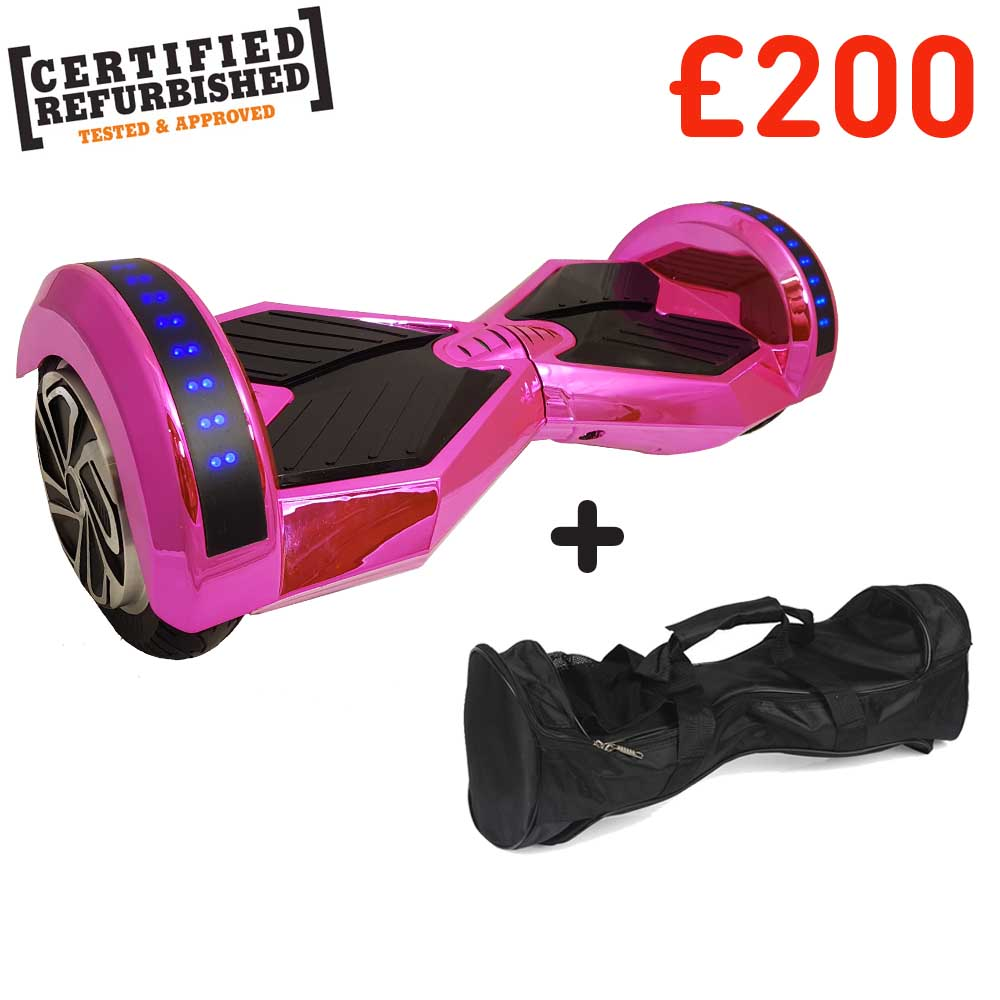 REFURBISHED 8″ PINK CHROME TRANSFORMER HOVERBOARD + BAG + BLUETOOTH DEAL