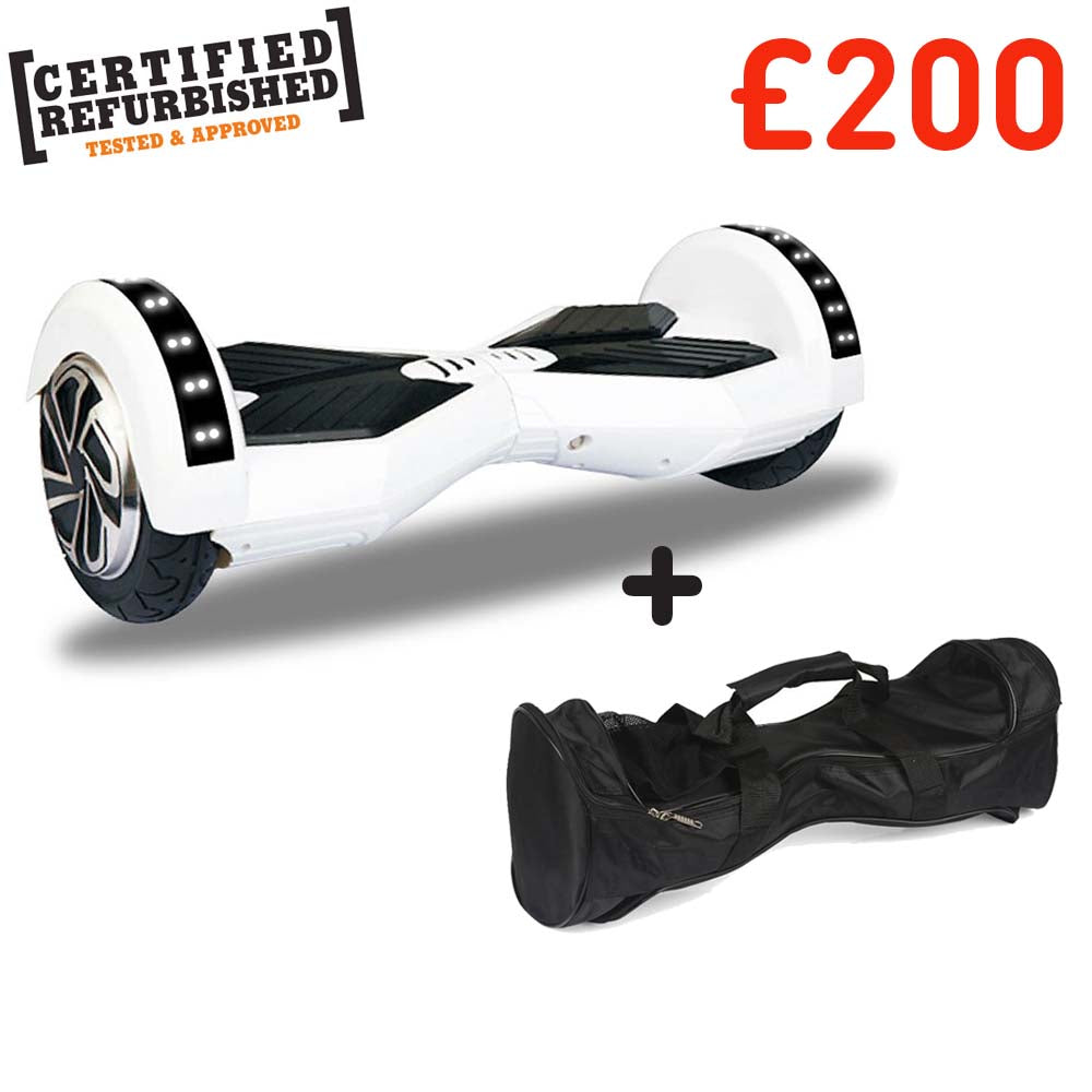 REFURBISHED 8″ WHITE TRANSFORMER HOVERBOARD + BAG + BLUETOOTH DEAL