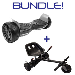 BLUEFIN™ SLICK TERRAIN SPORT 8.5″ HOVERBOARD SWEGWAY WITH INTEGRATED APP + SILI OFFROAD SUSPENSION HOVERKART BUNDLE