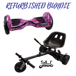 REFURBISHED 10″ PINK GALAXY HOVERBOARD + SILI OFFROAD SUSPENSION HOVERKART BUNDLE