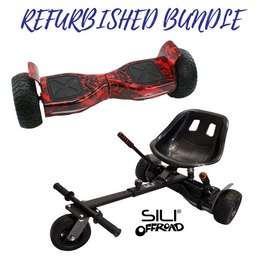 REFURBISHED ALL TERRAIN 8.5″ HOVERBOARD FLAMES + SILI OFFROAD SUSPENSION HOVERKART BUNDLE