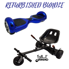 Bluefin™ REFURBISHED 6.5″ BLUE CHROME HOVERBOARD + SILI OFFROAD SUSPENSION HOVERKART BUNDLE