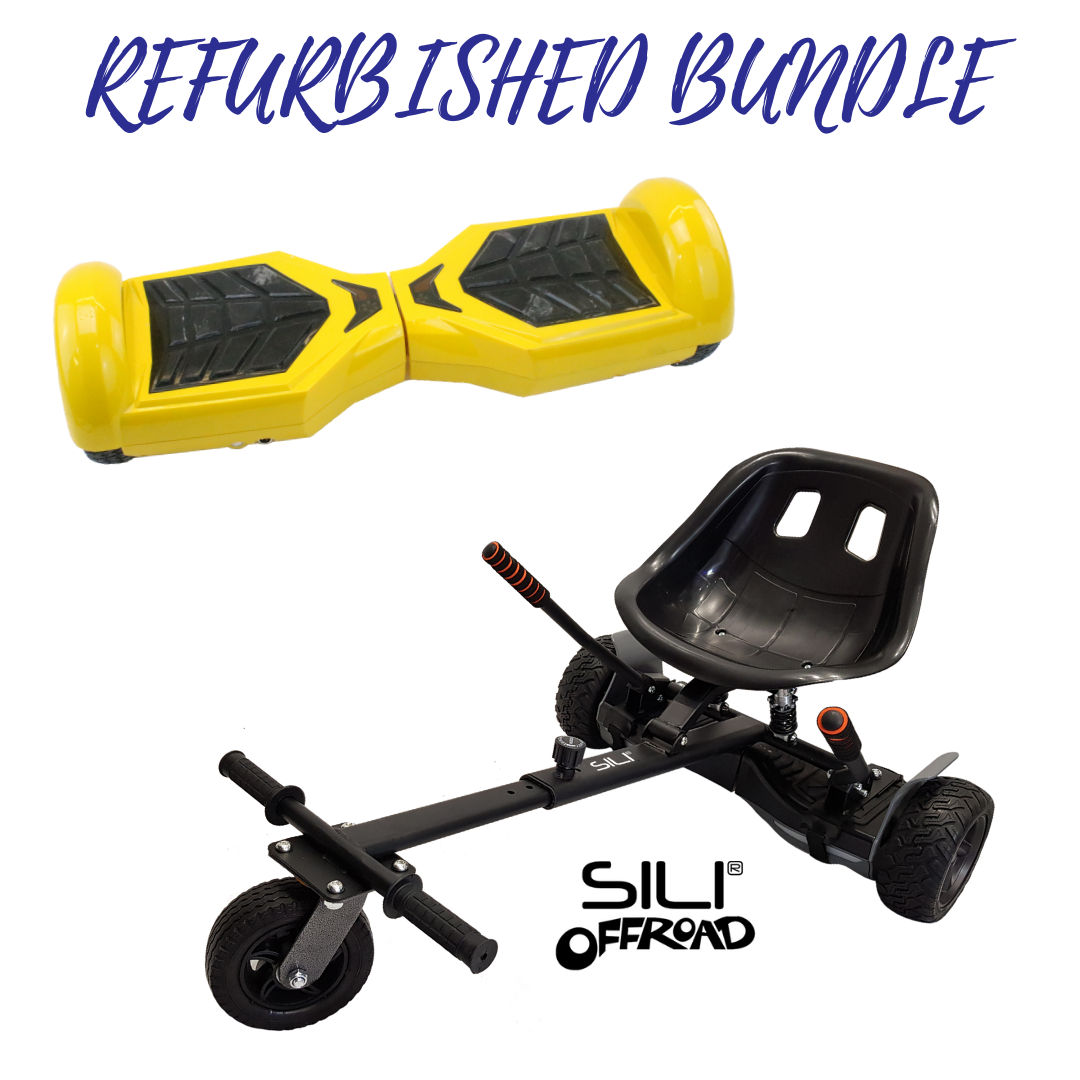 REFURBISHED 6.5″ YELLOW HOVERBOARD + SILI OFFROAD SUSPENSION HOVERKART BUNDLE