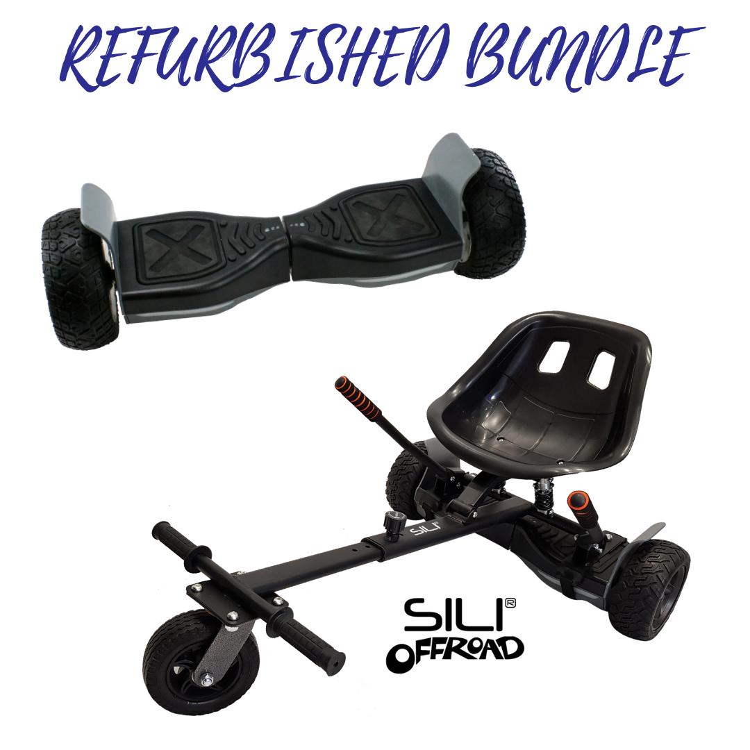 REFURBISHED ALL TERRAIN 8.5″ HOVERBOARD BLACK/GREY +  SILI OFFROAD SUSPENSION HOVERKART BUNDLE