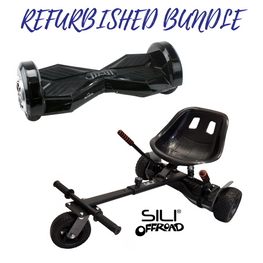 REFURBISHED Bluefin™ 8″ BLACK TRANSFORMER HOVERBOARD + SILI OFFROAD SUSPENSION HOVERKART BUNDLE