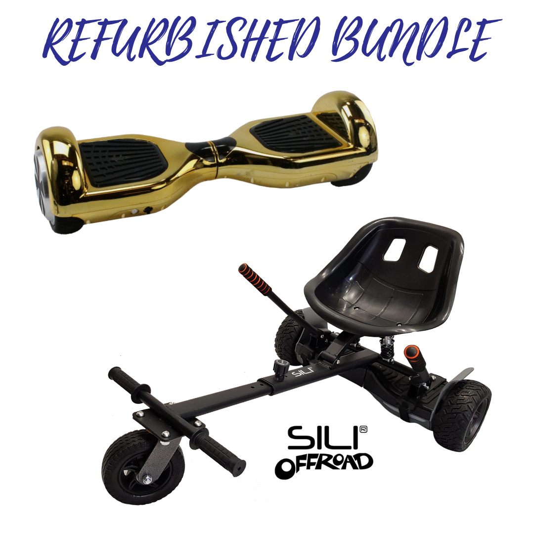 REFURBISHED Bluefin™ 6.5″ GOLD CHROME HOVERBOARD + SILI OFFROAD SUSPENSION HOVERKART BUNDLE