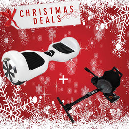 "6.5"" CLASSIC HOVERBOARD SWEGWAY IN WHITE + BLUETOOTH + HOVERKART BUNDLE"