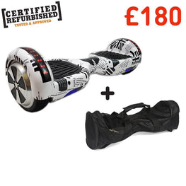 REFURBISHED 6.5″ NEWSPAPER DESIGN HOVERBOARD + BAG + BLUETOOTH DEAL-Smart Boards UK