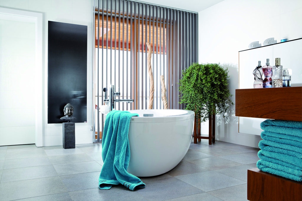 Redwell Infrared Black Glass Heater in a Bathroom