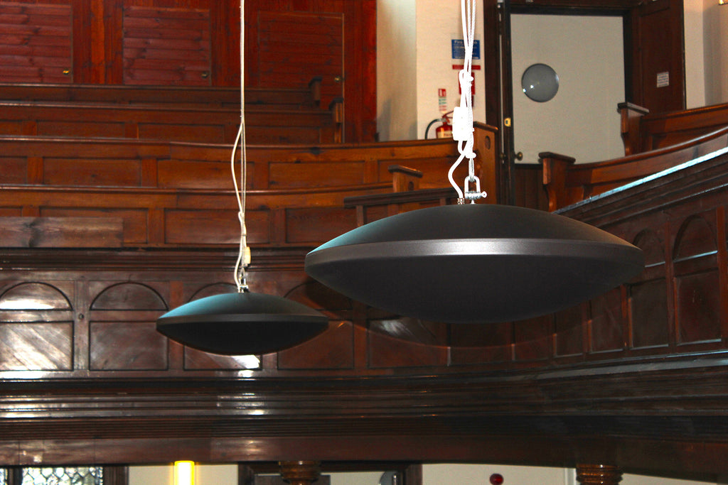 Redwell Infrared Diskus Heater in a Church