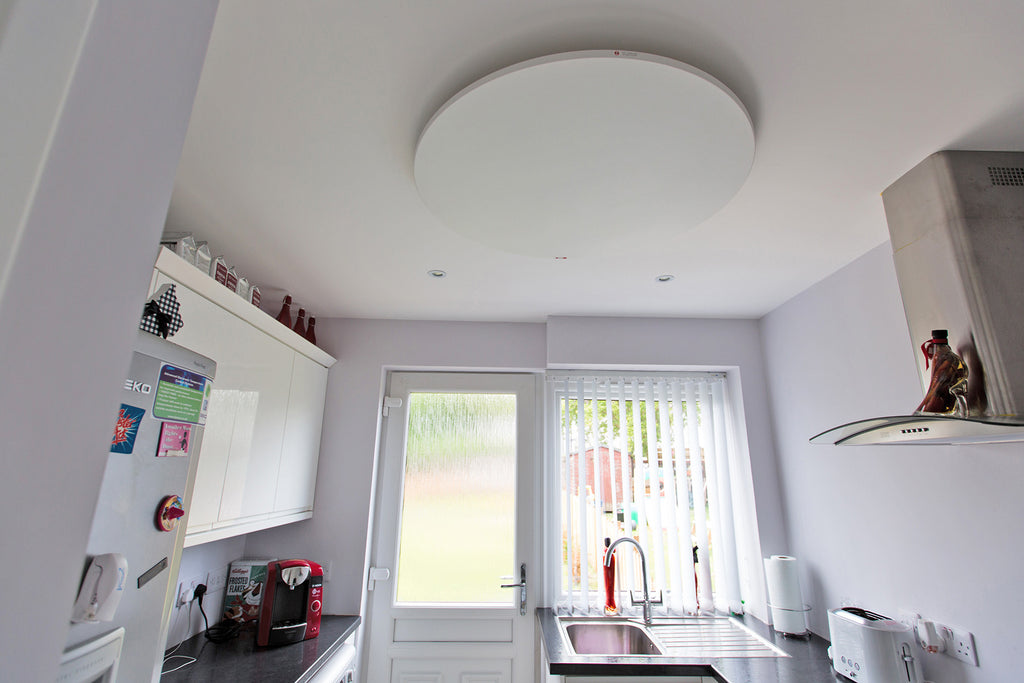 Redwell Infrared Heater Ceiling Round in a Small Space
