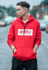 Close Up Of JerryJ Logo Hooded Sweatshirt - Red