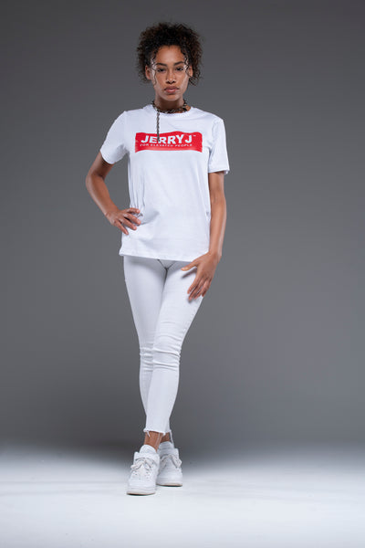 JerryJ Logo Print T-Shirt On Woman  - White