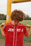 JERRY J UNISEX MESH BASEBALL JERSEY RED