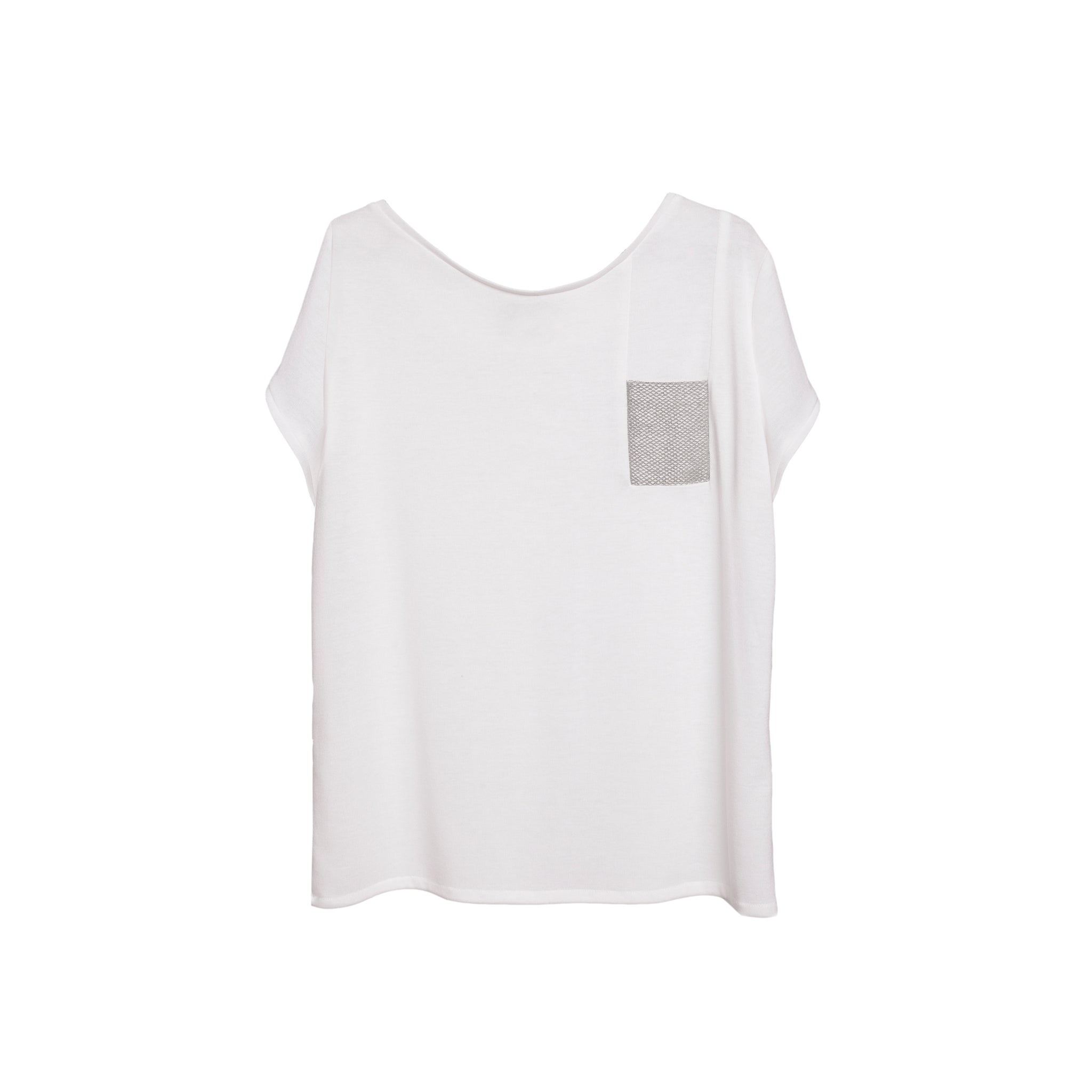 *MON White Oversized T-Shirt - Silver Pocket