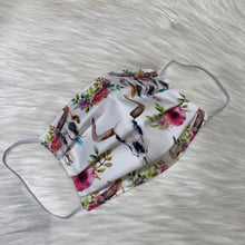 Floral Longhorn Face Mask- Adult