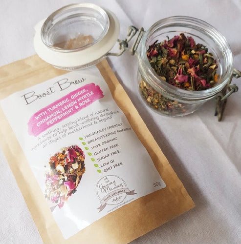 Boost Brew Pregnancy Tea & Lactation Tea with Turmeric, Ginger, Cinnamon, Lemon Myrtle, Peppermint & Rose