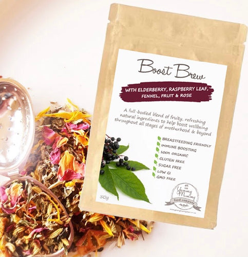 Boost Brew Lactation Tea with Elderberry, Raspberry Leaf, Fennel, Fruit & Rose