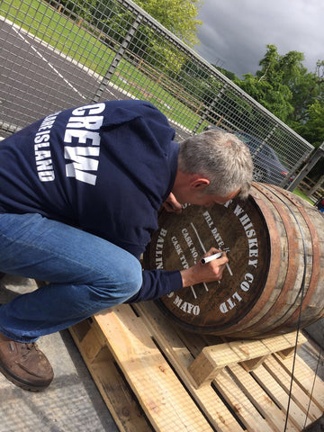 Signing the Clare Island Whiskey Cask