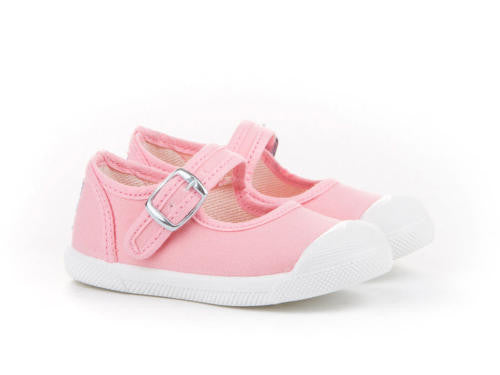 Pink Mary Janes Canvas Pumps