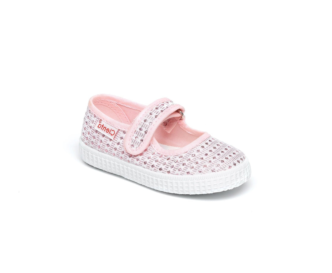 Pale Pink Glitter Mary Jane Canvas Cienta