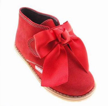 Red Suede Bow Boot