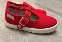 Red tbar canvas pumps
