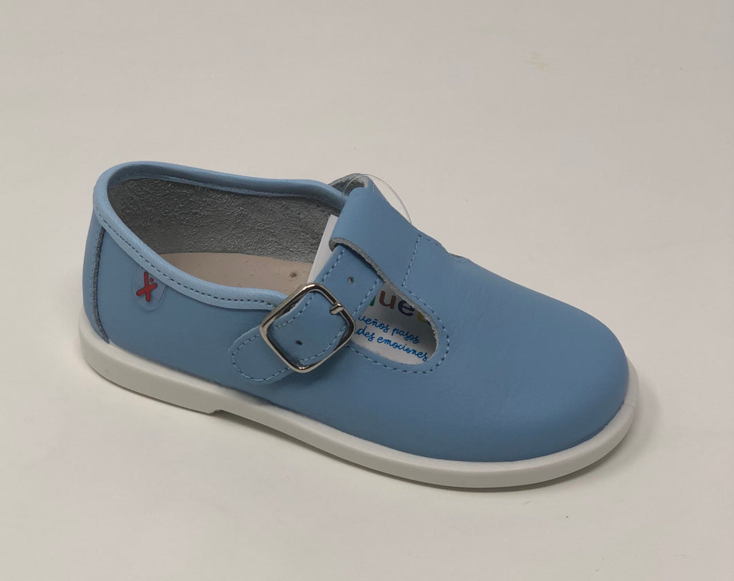 Leather T Bar - Pale Blue