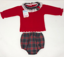Red Pom Pom knitted cardigan & Jam pant set