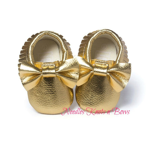 Girls Gold Bow Moccasins, Baby Girls Shoes, Crib Shoes, First Walking Shoes, Gold Moccasins