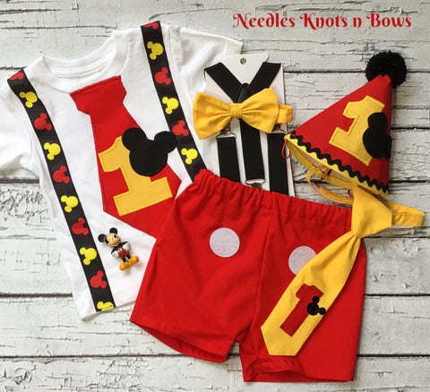 Boys Mickey Mouse 1st Birthday Outfit  & Cake Smash DELUXE Set, Boys 1st Birthday Shirt
