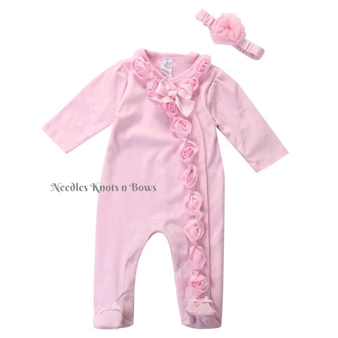 Baby Girls Pink Pajama's, Girls Pink Footed Sleeper with Headband, Coming Home Outfit