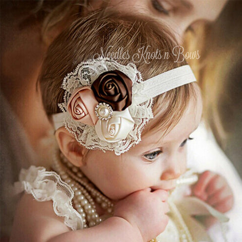 Baby Girls 3 Flower Headband, Newborn Satin Rose Lace Headband, Infant, Toddler, Baby Headband