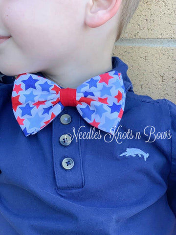 4th of July Bow Tie, Patriotic Bow Tie, Red & Blue Stars on White, July 4th, Independence Day
