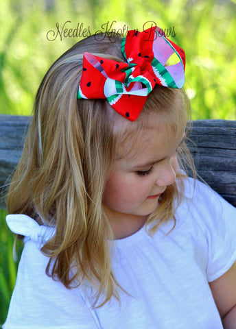 "5 inch Watermelon Hair Bow, Girls 5"" Grosgrain Ribbon Watermelon Hairbow"