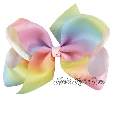 Rainbow Hairbow, Girls 6 inch Rainbow Hairbow, Hair Accessories, Rainbow Birthday