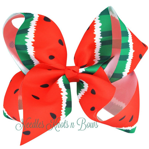 "Watermelon Hair Bow,  Girls 5"" Grosgrain Watermelon Hair Bow, Hair Accessories"