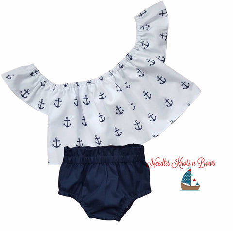Girls Nautical Outfit, Baby Girls Anchor Off the Shoulder Top w/ Bloomers