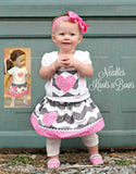 Girl Doll Matching Skirt Outfit, 15 / 18 inch Doll Girl Outfits, Doll Clothes, Girls Chevron Skirt Outfit