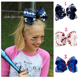 "Girls 7"" Baseball Hair Bow, Girls Jumbo Hair Bow, Hair Accessories, Bows"